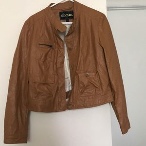 Big chill faux brown leather jacket
